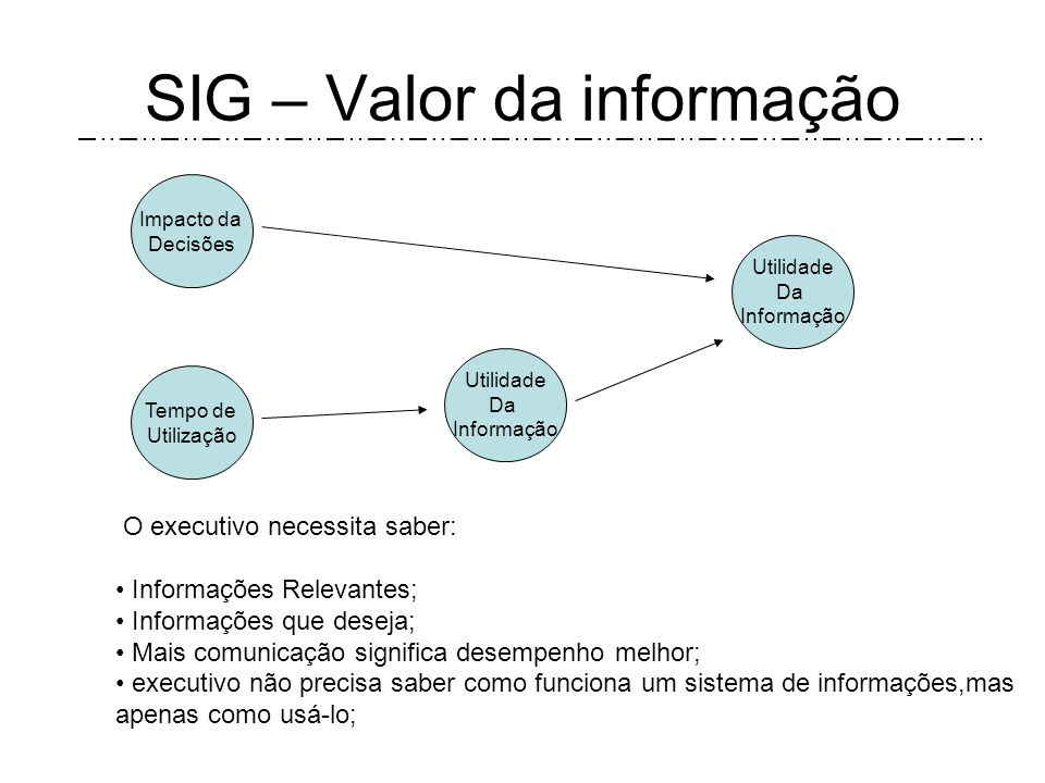 SIG – Valor da informação