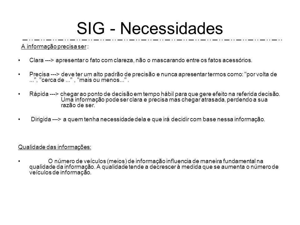 SIG - Necessidades A informação precisa ser :