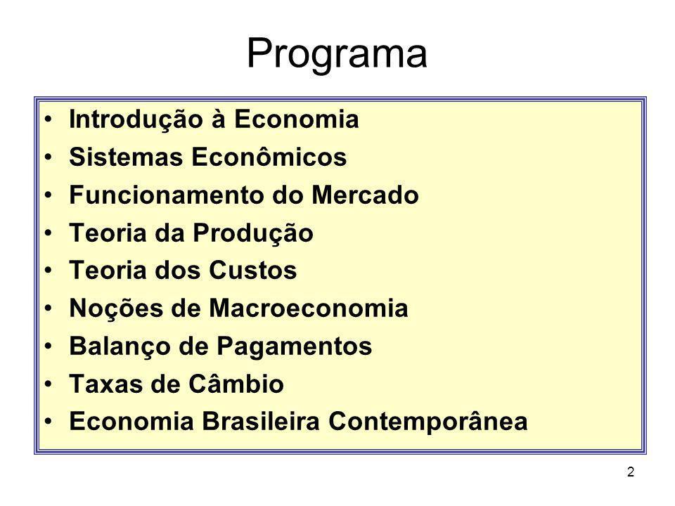 Programa Introdução à Economia Sistemas Econômicos