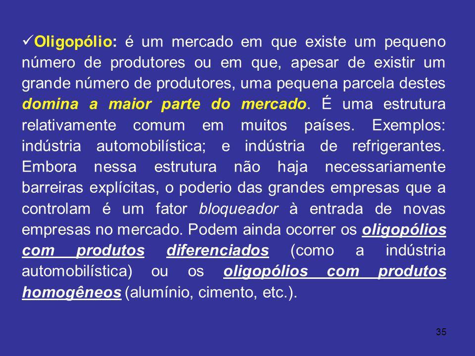 Oligopólio: é um mercado em que existe um pequeno número de produtores ou em que, apesar de existir um grande número de produtores, uma pequena parcela destes domina a maior parte do mercado.