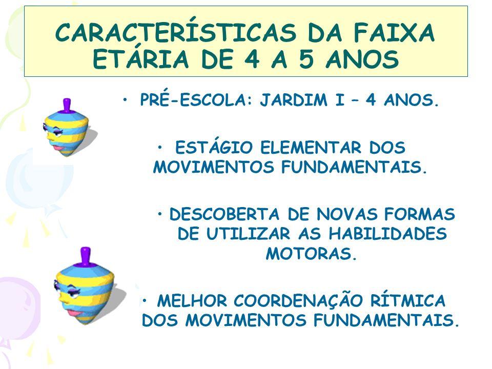 CARACTERÍSTICAS DA FAIXA ETÁRIA DE 4 A 5 ANOS