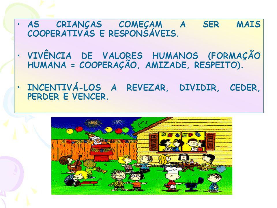 AS CRIANÇAS COMEÇAM A SER MAIS COOPERATIVAS E RESPONSÁVEIS.