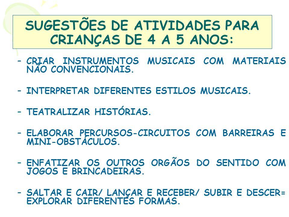 SUGESTÕES DE ATIVIDADES PARA CRIANÇAS DE 4 A 5 ANOS: