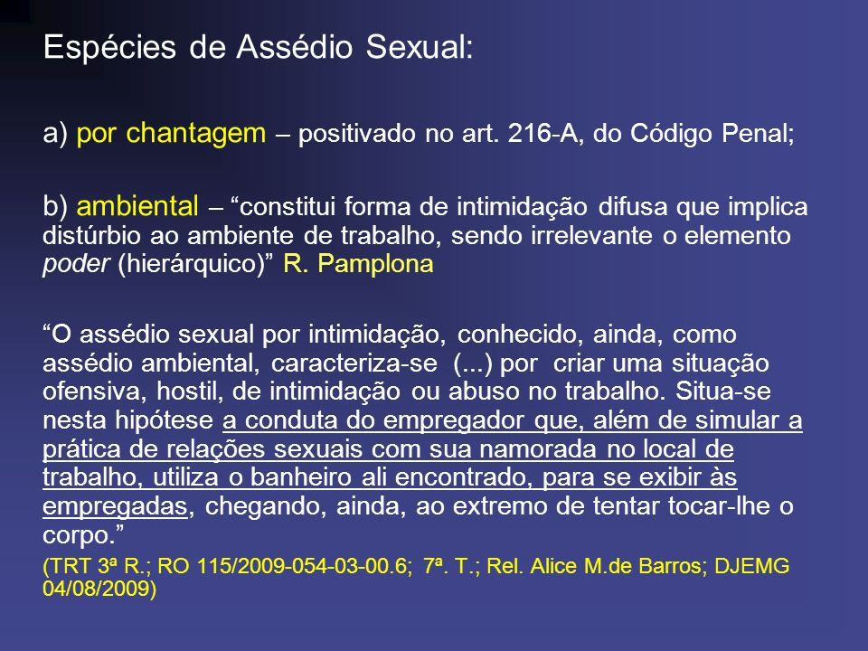 Espécies de Assédio Sexual: