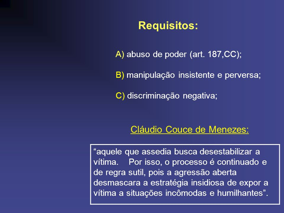 Requisitos: Cláudio Couce de Menezes: A) abuso de poder (art. 187,CC);