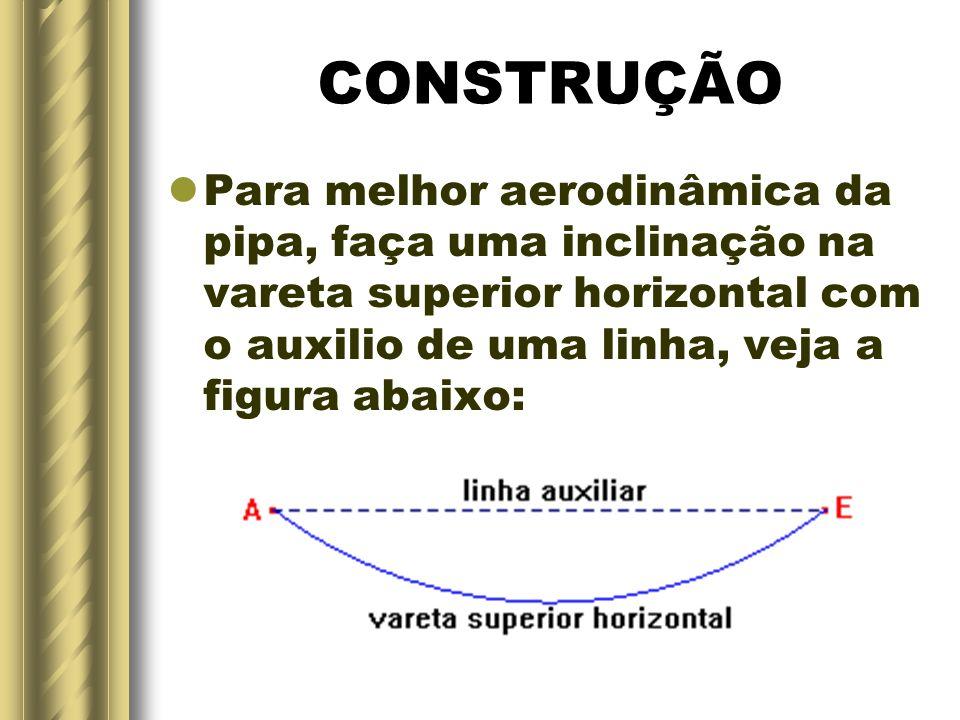 CONSTRUÇÃO Para melhor aerodinâmica da pipa, faça uma inclinação na vareta superior horizontal com o auxilio de uma linha, veja a figura abaixo: