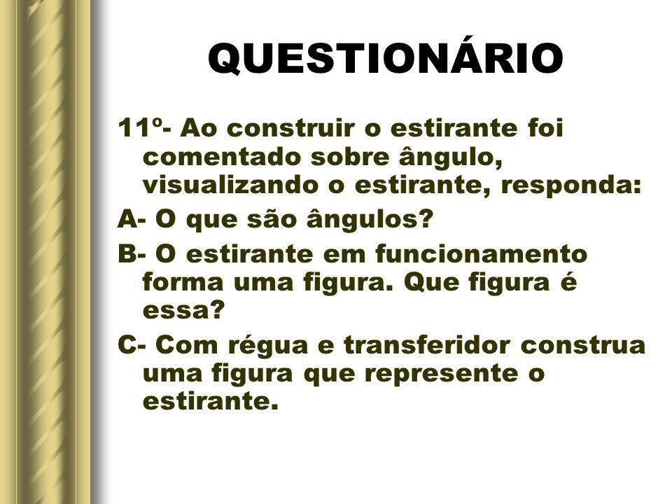 QUESTIONÁRIO 11º- Ao construir o estirante foi comentado sobre ângulo, visualizando o estirante, responda: