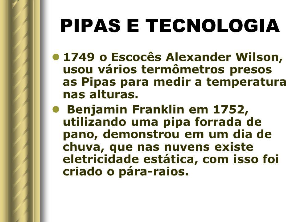 PIPAS E TECNOLOGIA 1749 o Escocês Alexander Wilson, usou vários termômetros presos as Pipas para medir a temperatura nas alturas.