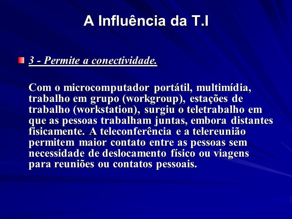 A Influência da T.I 3 - Permite a conectividade.