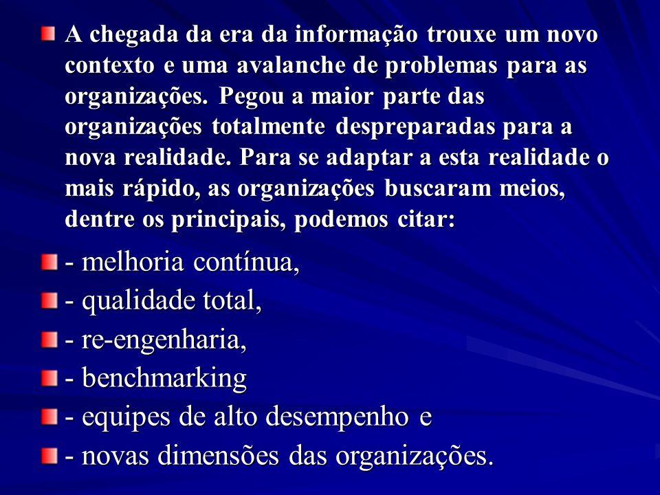 - equipes de alto desempenho e - novas dimensões das organizações.
