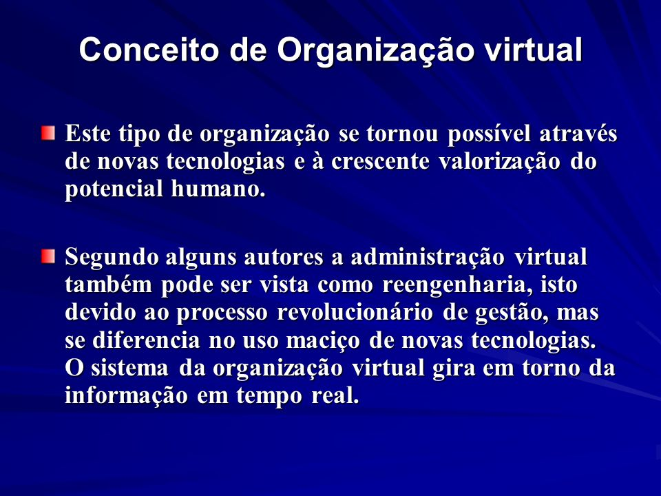 Conceito de Organização virtual