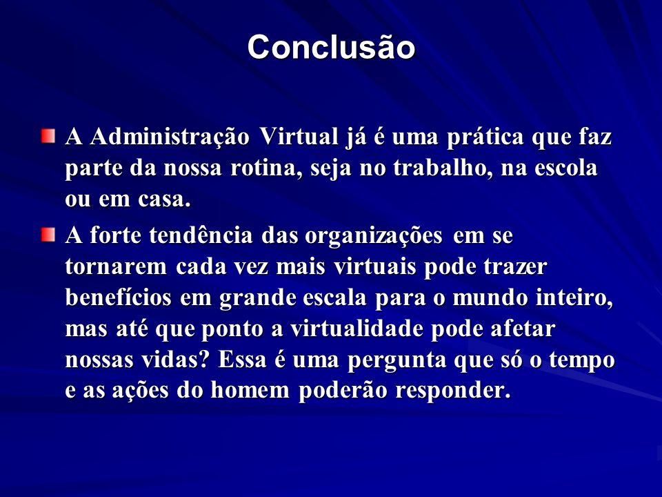 Conclusão A Administração Virtual já é uma prática que faz parte da nossa rotina, seja no trabalho, na escola ou em casa.
