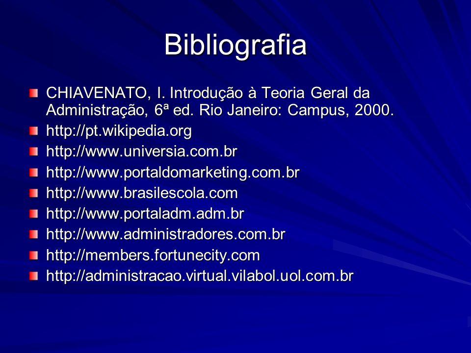 Bibliografia CHIAVENATO, I. Introdução à Teoria Geral da Administração, 6ª ed. Rio Janeiro: Campus, 2000.