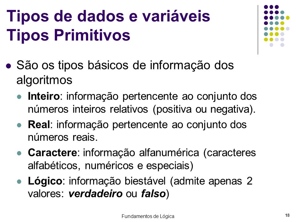Tipos de dados e variáveis Tipos Primitivos