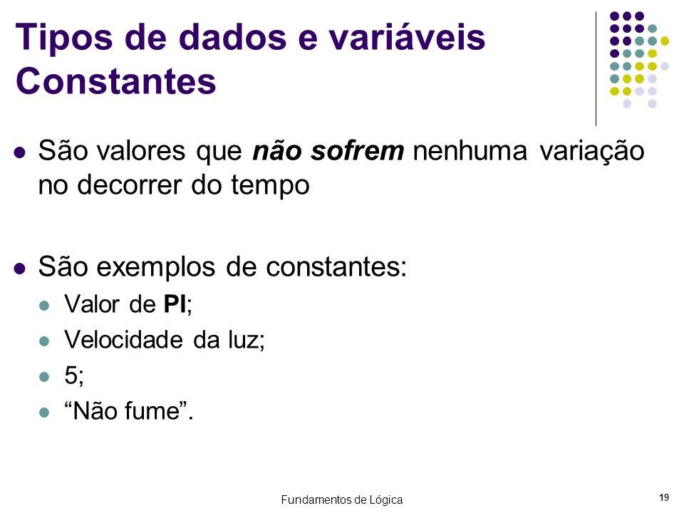 Tipos de dados e variáveis Constantes