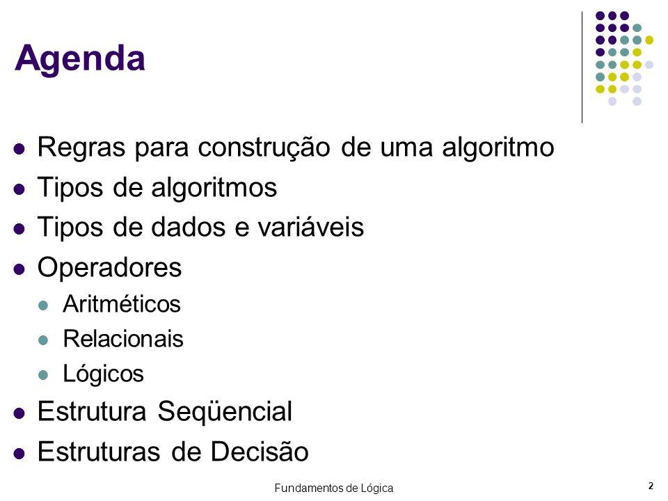Agenda Regras para construção de uma algoritmo Tipos de algoritmos