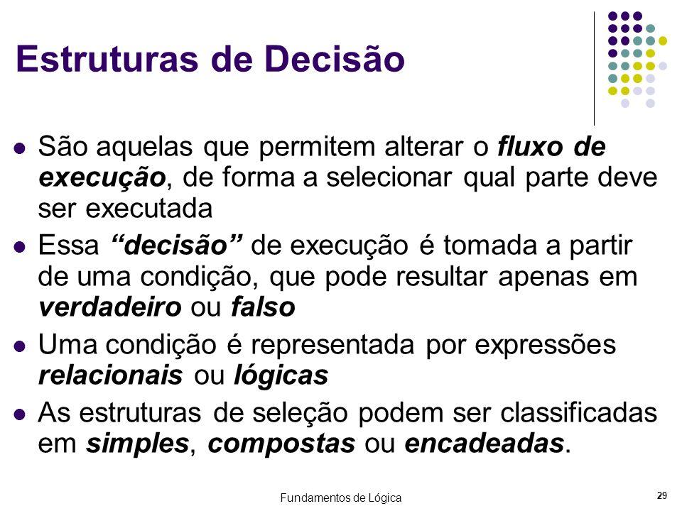 Estruturas de Decisão São aquelas que permitem alterar o fluxo de execução, de forma a selecionar qual parte deve ser executada.