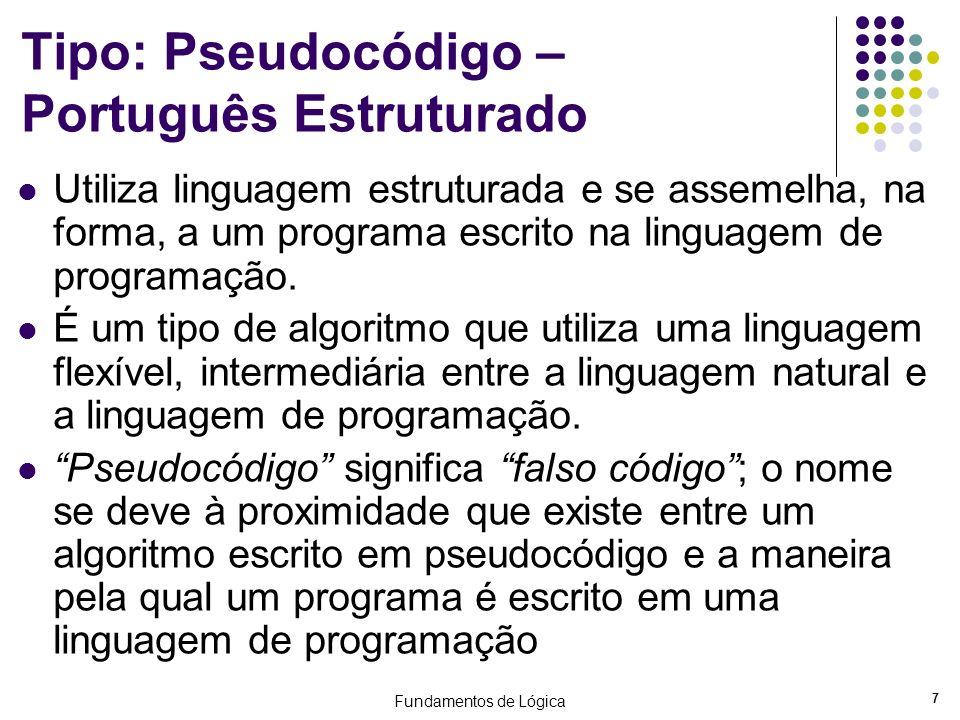 Tipo: Pseudocódigo – Português Estruturado