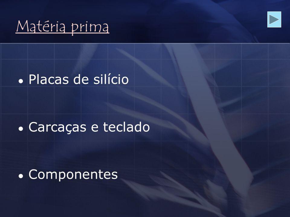 Matéria prima ● Placas de silício ● Carcaças e teclado ● Componentes