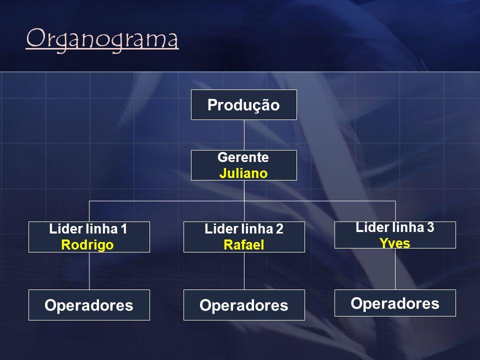 Organograma Produção Operadores Operadores Operadores Gerente Juliano