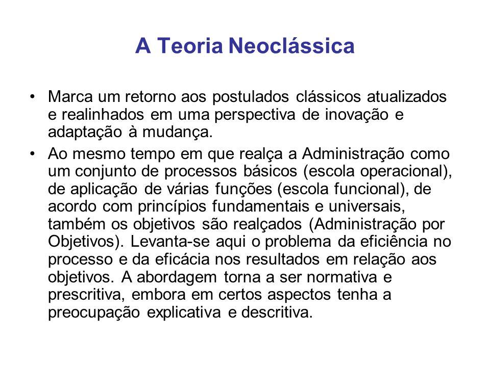 A Teoria Neoclássica Marca um retorno aos postulados clássicos atualizados e realinhados em uma perspectiva de inovação e adaptação à mudança.