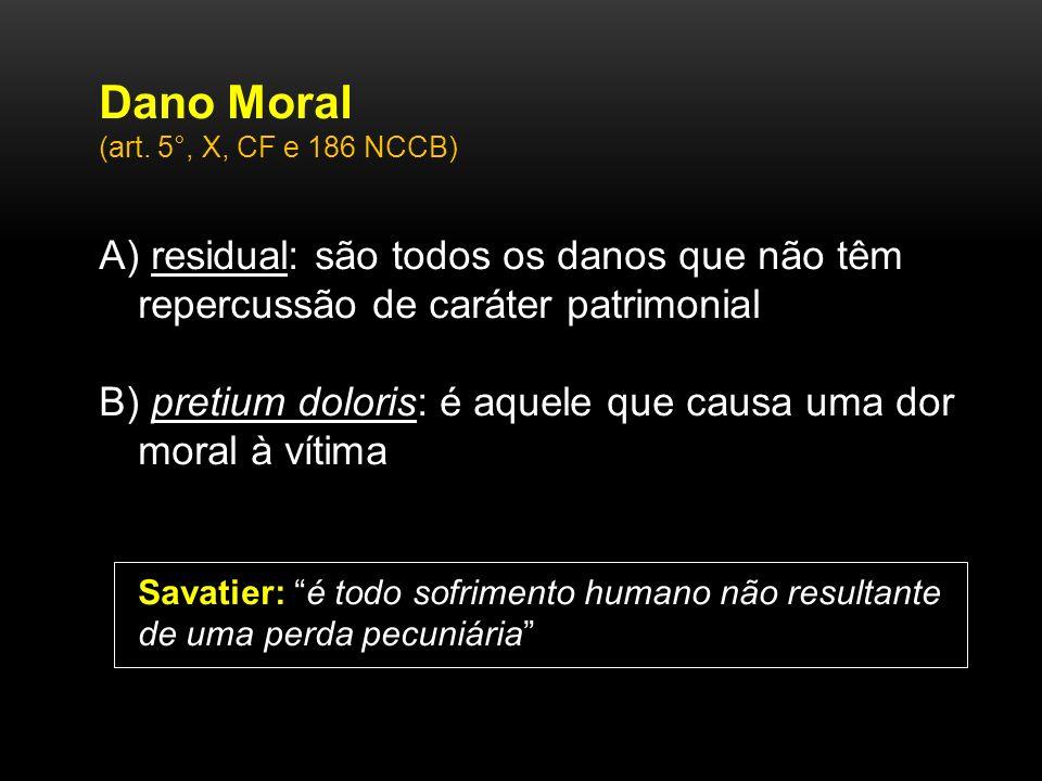 Dano Moral (art. 5°, X, CF e 186 NCCB) A) residual: são todos os danos que não têm repercussão de caráter patrimonial.