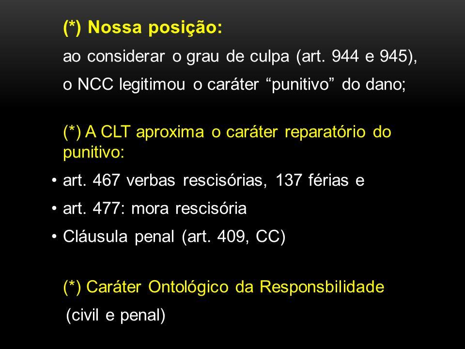 (*) Nossa posição: o NCC legitimou o caráter punitivo do dano;