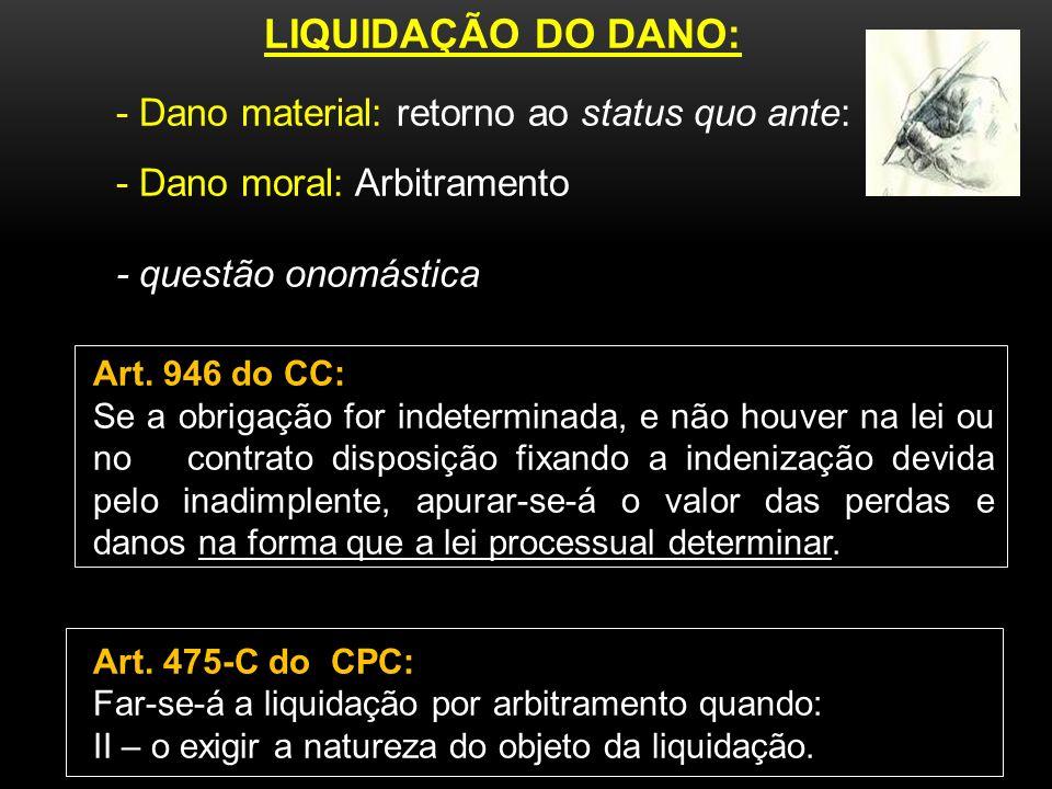 LIQUIDAÇÃO DO DANO: - Dano moral: Arbitramento - questão onomástica