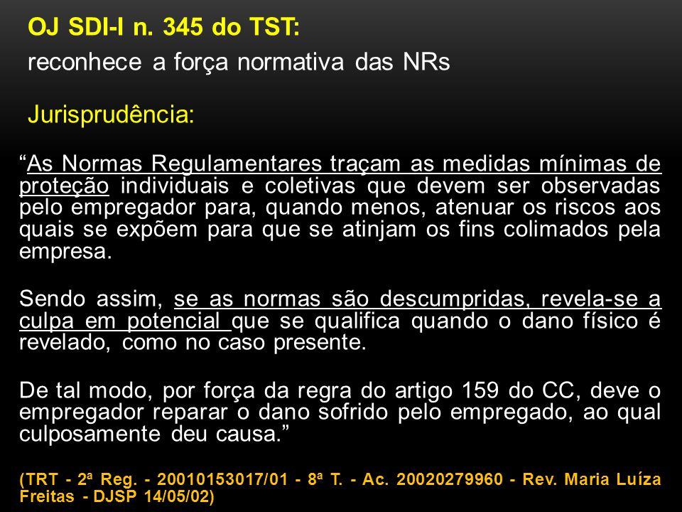 reconhece a força normativa das NRs Jurisprudência: