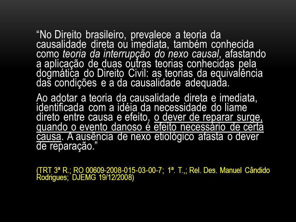 No Direito brasileiro, prevalece a teoria da causalidade direta ou imediata, também conhecida como teoria da interrupção do nexo causal, afastando a aplicação de duas outras teorias conhecidas pela dogmática do Direito Civil: as teorias da equivalência das condições e a da causalidade adequada.