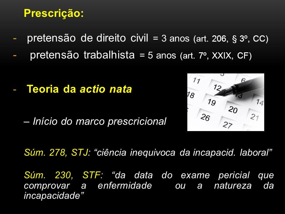 pretensão de direito civil = 3 anos (art. 206, § 3º, CC)