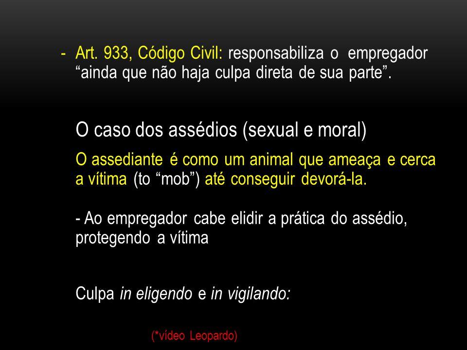 O caso dos assédios (sexual e moral)