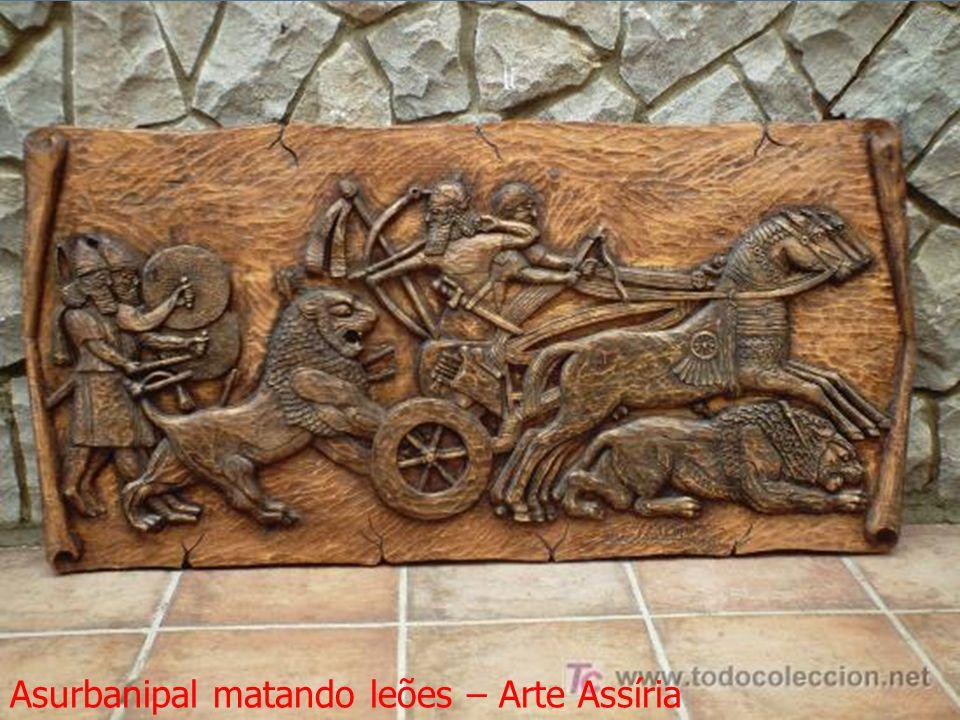 Asurbanipal matando leões – Arte Assíria