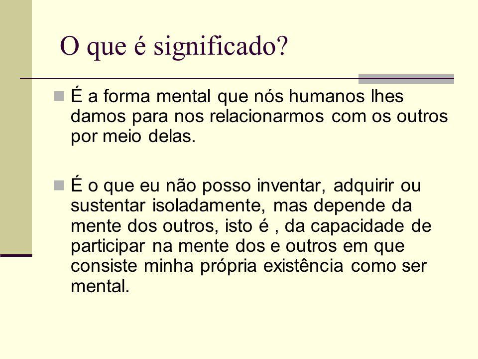 O que é significado É a forma mental que nós humanos lhes damos para nos relacionarmos com os outros por meio delas.