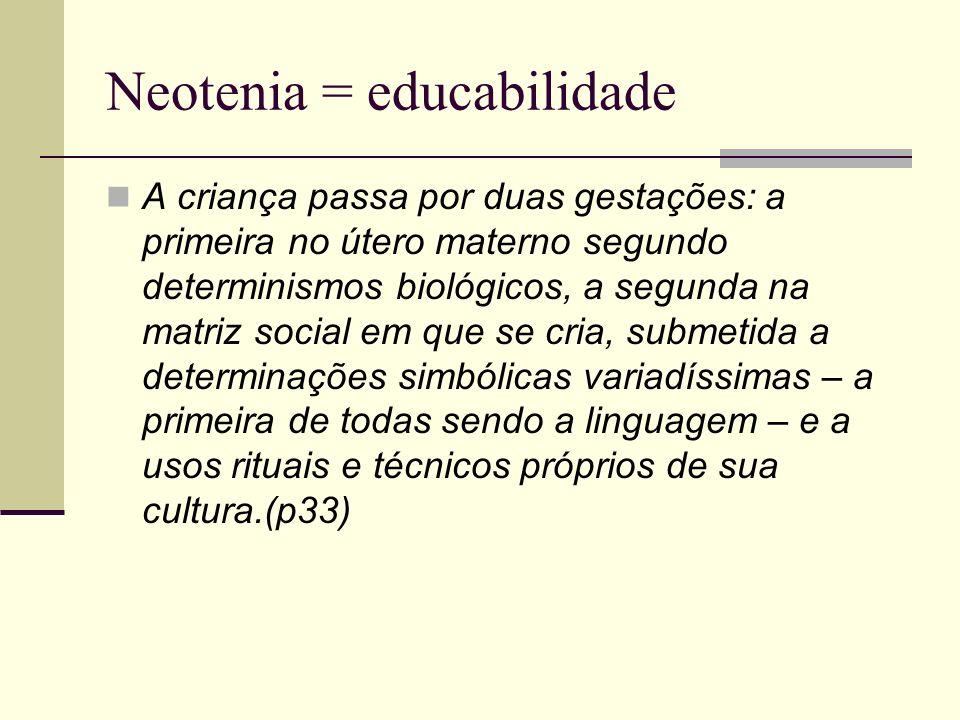 Neotenia = educabilidade