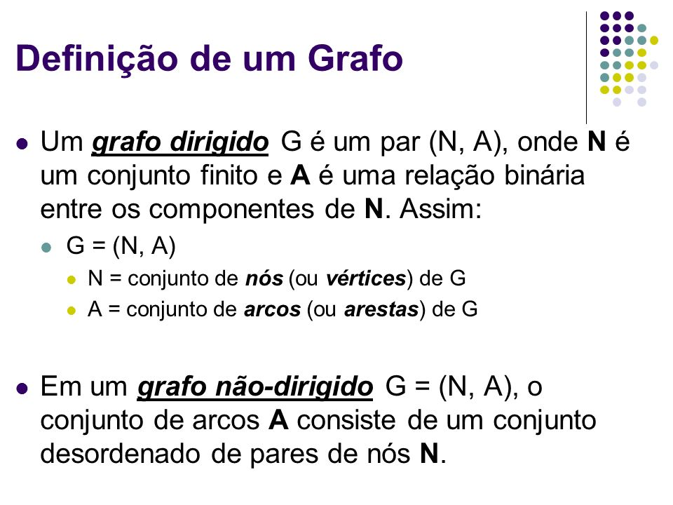 Definição de um Grafo Um grafo dirigido G é um par (N, A), onde N é um conjunto finito e A é uma relação binária entre os componentes de N. Assim: