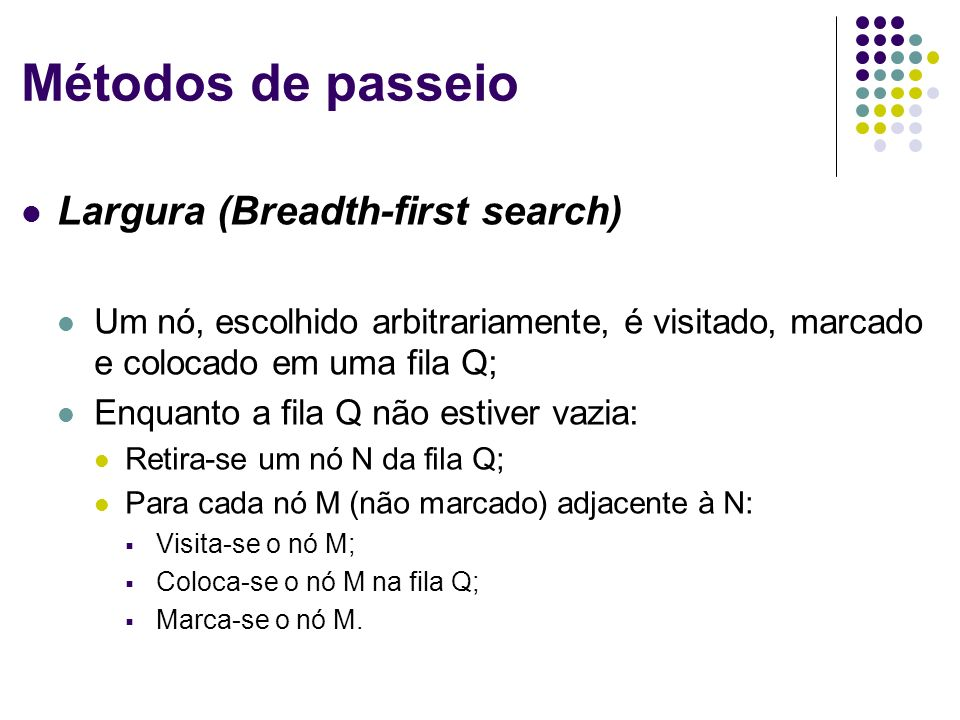Métodos de passeio Largura (Breadth-first search)