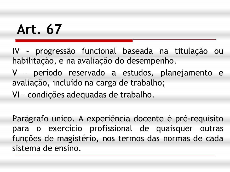Art. 67 IV – progressão funcional baseada na titulação ou habilitação, e na avaliação do desempenho.