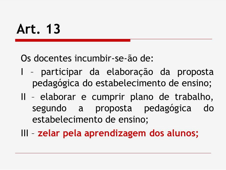 Art. 13 Os docentes incumbir-se-ão de: