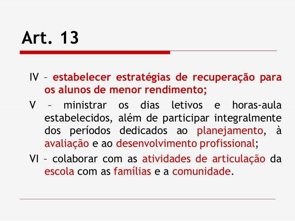Art. 13 IV – estabelecer estratégias de recuperação para os alunos de menor rendimento;