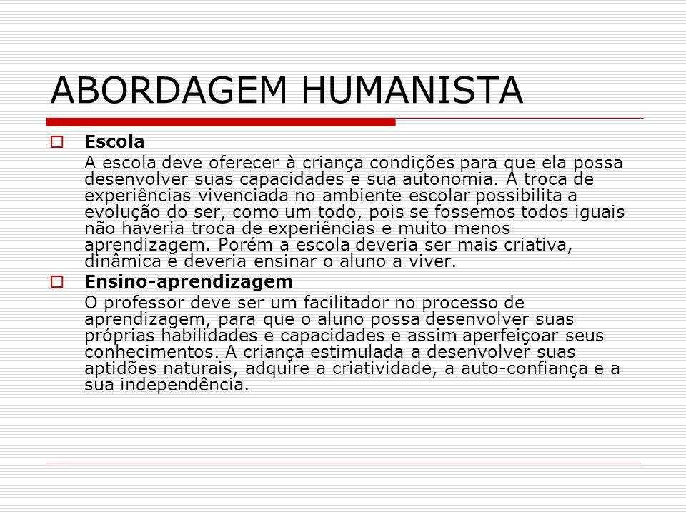 ABORDAGEM HUMANISTA Escola