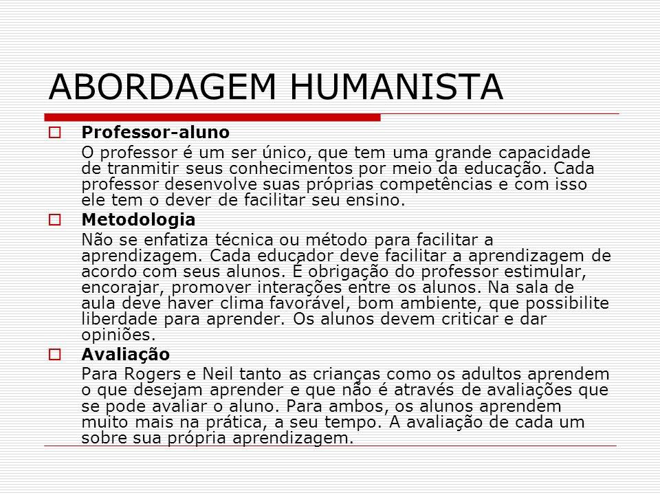 ABORDAGEM HUMANISTA Professor-aluno