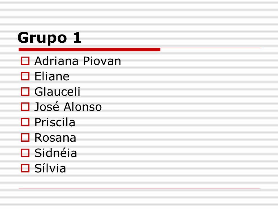 Grupo 1 Adriana Piovan Eliane Glauceli José Alonso Priscila Rosana