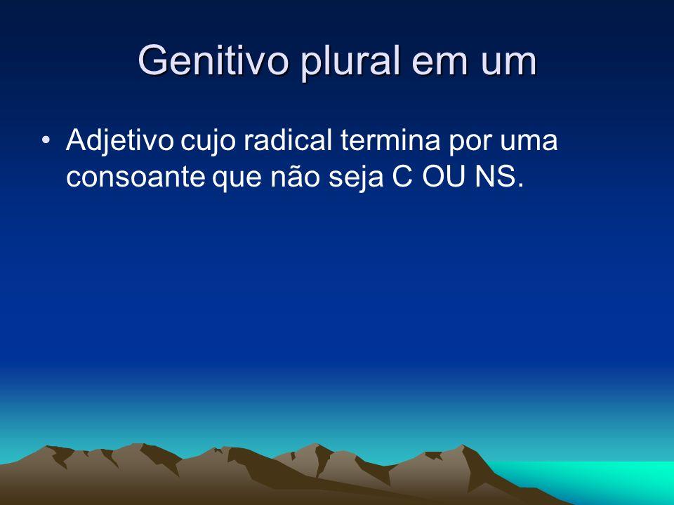 Genitivo plural em um Adjetivo cujo radical termina por uma consoante que não seja C OU NS.