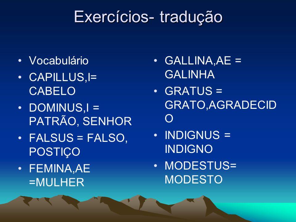 Exercícios- tradução Vocabulário CAPILLUS,I= CABELO