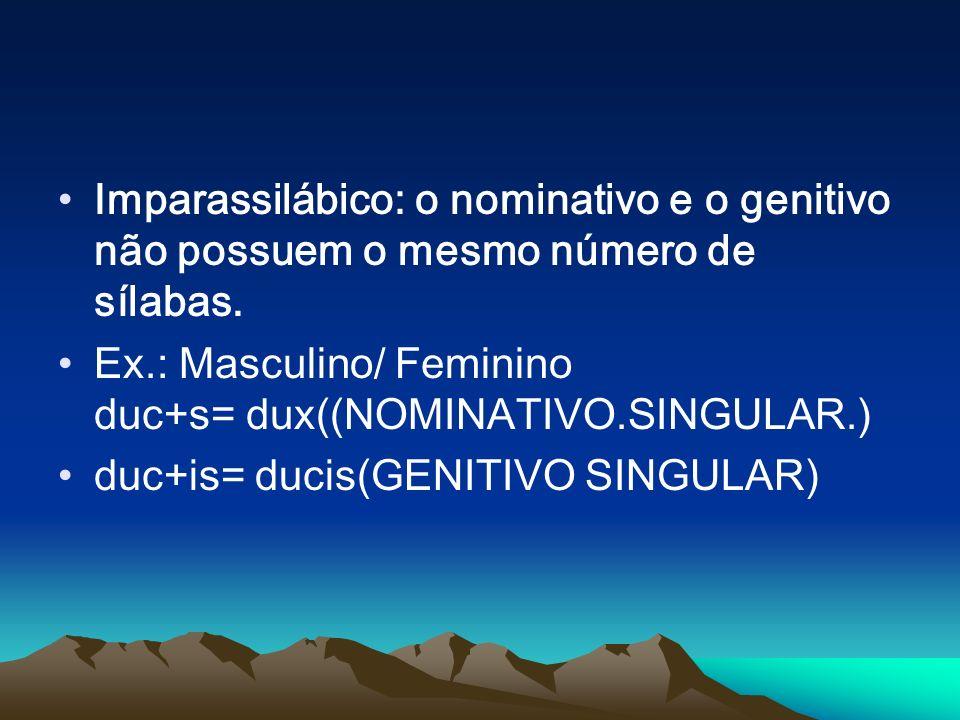 Imparassilábico: o nominativo e o genitivo não possuem o mesmo número de sílabas.