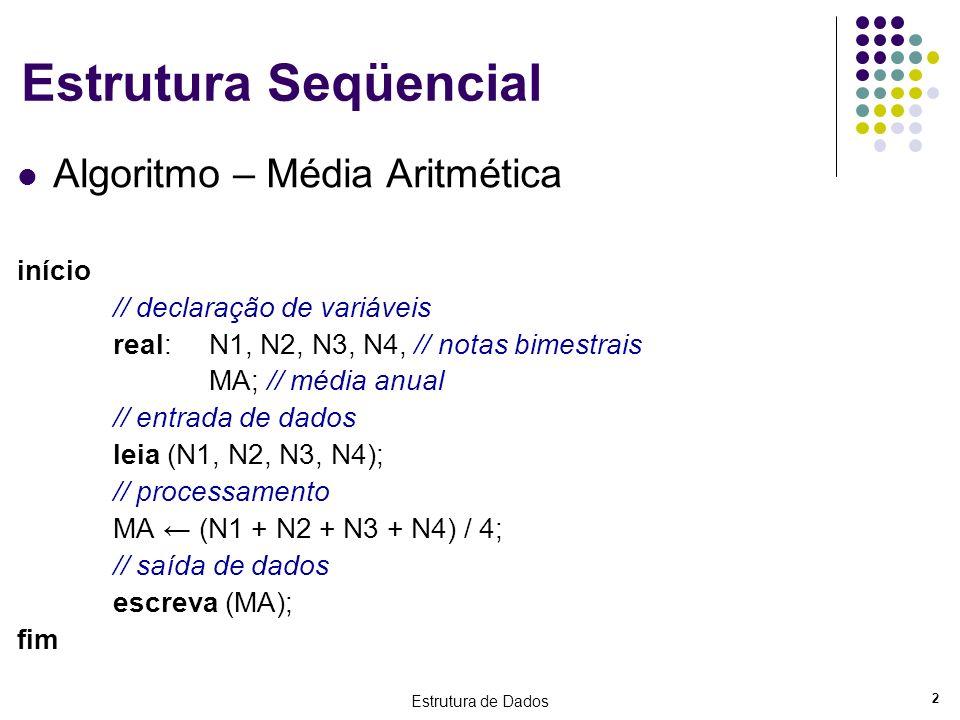 Estrutura Seqüencial Algoritmo – Média Aritmética início