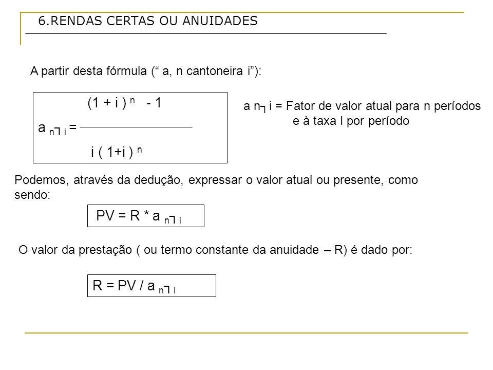 (1 + i ) n - 1 a n┐i = i ( 1+i ) n PV = R * a n┐i R = PV / a n┐i