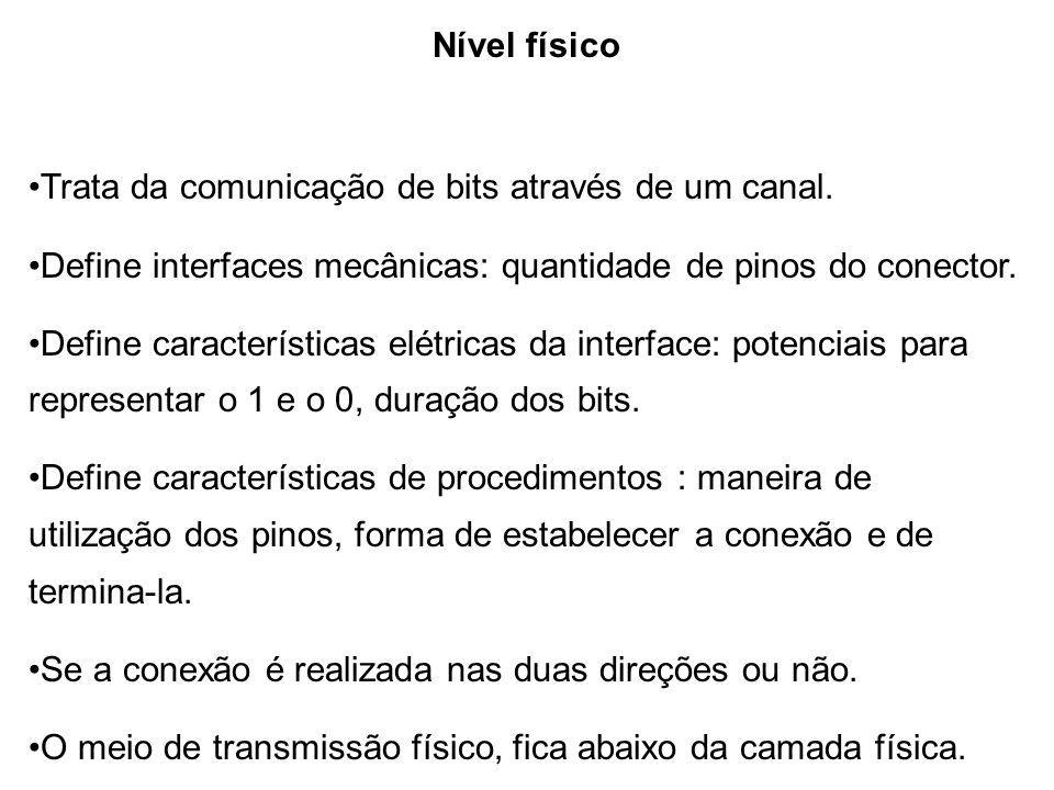 Nível físico •Trata da comunicação de bits através de um canal. •Define interfaces mecânicas: quantidade de pinos do conector.