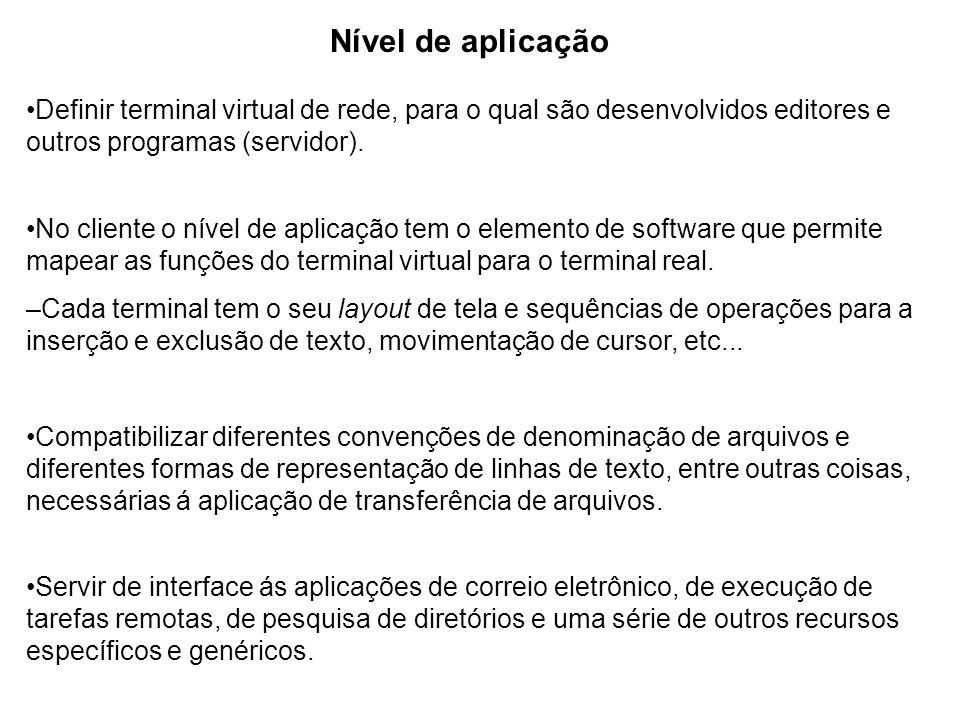 Nível de aplicação •Definir terminal virtual de rede, para o qual são desenvolvidos editores e outros programas (servidor).